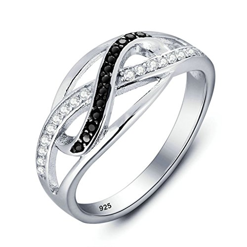 Daesar 9MM Silver Plated Womens Rings Cubic Zirconia Ring Infinity Rings Eternity Size:8 (San Francisco 49ers Oval Ring)