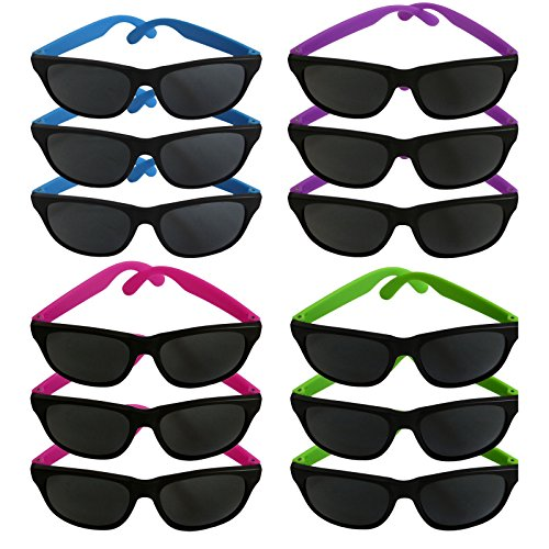 Party Neon Color Sunglasses Pack of 12 Safe Different Colors Variety Shades Wear - Sunglasses Variety