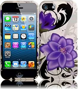 For Apple Iphone 5 6th Gen Accessory Hard Design Cover Case Violet Lily