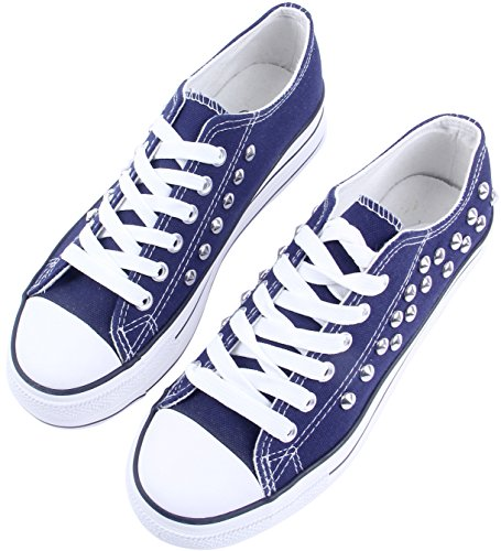 SATUKI Canvas Shoes For Women,Lace Up Casual Comfortable Flat Fashion Sneakers Blue