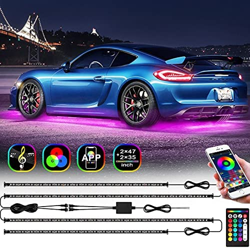 FOVAL Exterior Car LED Lights, RGB Car Underglow Lights Waterproof with APP and RF Remote Control, 2 Lines Design, 7 Scene Modes, 16 Million Colors, Music Mode, DIY Mode for SUVs, Trucks, Jeep, DC 12V
