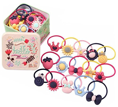 22PCS Baby Girls Cute Cartoon Hair Bows Elastic Ties Bands Hair Holders Ponytail Holders Head Bands Ropes Hair Styling Accessories With a Cute Tin Box