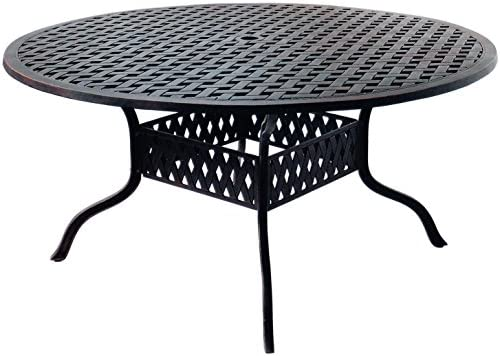 "K&B PATIO LD1031A-60 Nassau Round Dining Table, 60"", Antique Bronze"