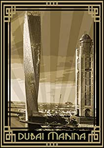 Photo Of Dubai Marina- Sepia With Gold Border, Print Only (a4)