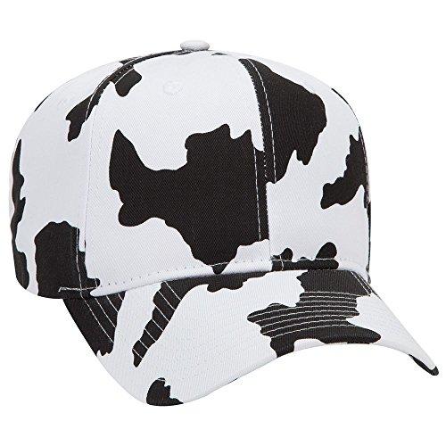 Product of Ottocap Cow Pattern Cotton Blend Twill Six Panel Pro Style Baseball Cap -Blk/Wht [Wholesale Price on Bulk]