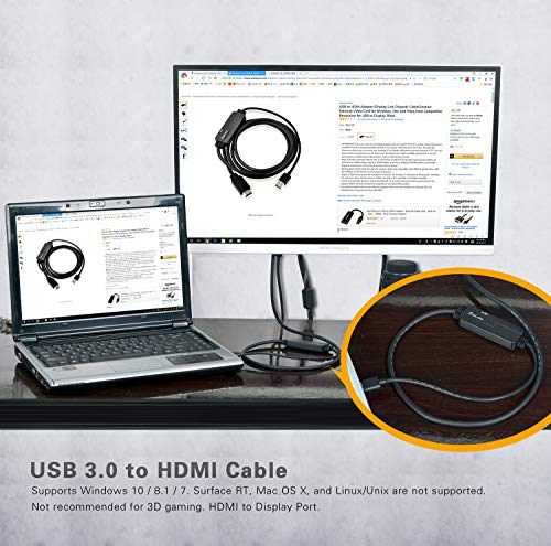 ZasLuke USB 3.0 to HDMI Cable,USB to HDMI Male to Male Converter/Adapter for Windows 10/8/8.1/7 PC & Mac (only Support Mac OS 10.11.6 & 10.12.6), NOT Support XP/Mac/Linux (6FT/2M, Without Audio) by ZasLuke (Image #4)'