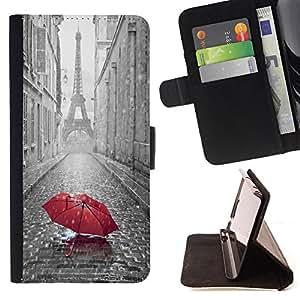- Rain Paris Tower - - Monedero PU titular de la tarjeta de cr?dito de cuero cubierta de la caja de la bolsa FOR LG G2 D800 Retro Candy