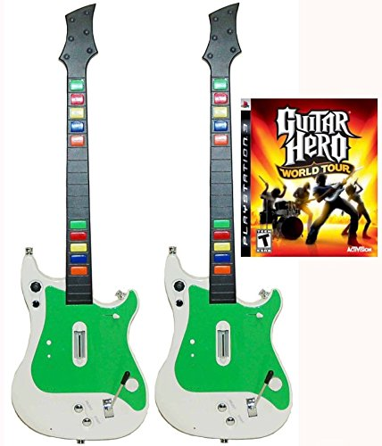 Playstation 3 PS3 2x Wireless Guitar Controllers + Guitar Hero World Tour Video Game kit bundle set GH rock music band