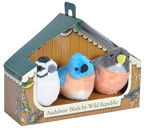 - Wild Republic Audubon Birds Collection with Authentic Bird Sounds, Eastern Bluebird, American Robin and Downy Woodpecker, Bird Toys for Kids and bird watchers