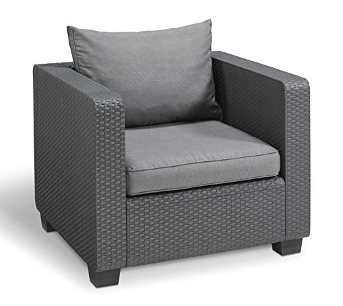 Keter Salta All Weather Outdoor Patio Furniture Armchair with Sunbrella Cushions in a Resin Plastic Wicker Pattern, Modern Graphite/Cool Grey - Dimensions: 33.1 in. L x 32.1 in. W x 25 in. H Comes with heathered Grey sunbrella seat and back cushions Constructed of a durable, all weather-resistant resin to offer the perfect blend of style and durability - patio-furniture, patio-chairs, patio - 51V31 tVQuL -