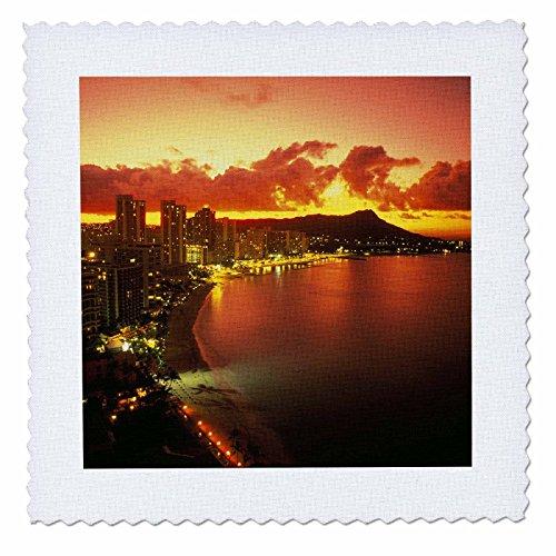 3dRose qs_89664_1 Waikiki Oahu Hawaii - US12 DPB0975 - Douglas Peebles - Quilt Square, 10 by 10-Inch