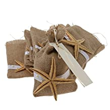 12 x Vintage Rustic Burlap Starfish Pouch Gift Bag w/ Ribbons Wedding Favors