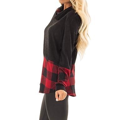 Darringls Abrigo de Invierno Mujer, Chaqueta Impresión a Cuadros Chaqueta a Cuadros Camiseta botón Cosiendo: Amazon.es: Ropa y accesorios