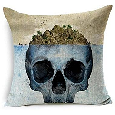 Creative Skull Island Design Throw Pillow Case Personalized Cushion Cover NEW Home Office Decorative Square 18 X 18 Inches