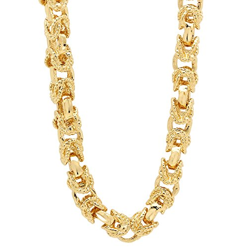 8mm 14k Yellow Gold Plated Rope Textured Byzantine Squared Link Chain, 36'' + Jewelry Polishing Cloth by The Bling Factory
