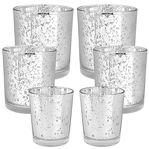 Just Artifacts 6pc Assorted (Size) Silver Mercury Glass Votive Tealight Candle Holder Set - Mercury Glass Votive Tealight Candle Holders for Weddings, Parties, and Home Décor