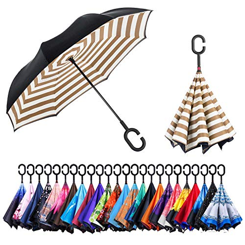 AmaGo Windproof Inverted Umbrella - UV Protection Double Layer Reverse Folding Long Self Standing Umbrella with C-Shape Handle for Car Rain Outdoor Travel(Coffee)