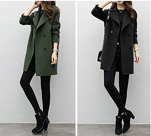 Manteau Femme En Veste Chaud Overcoat Drap Acvip Noir Hiver Blouson 5BUxqw