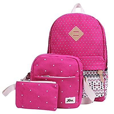 f3c2d6912a02 ... Pieces Sets for Teen. hot sale HONEYJOY Lightweight Canvas School  Bookbag Causal Travel Bag School Backpack Unisex Laptop Rucksack 3