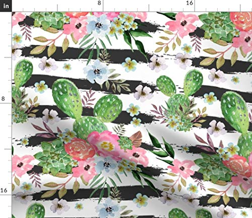 (Tropical Stripes Fabric - Cactus And Floral Strips Background Exotic Desert Rose Plant Succulent Cacti Print on Fabric by the Yard - Petal Signature Cotton for Sewing Quilting Apparel Crafts Decor)