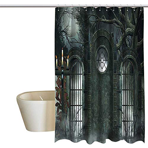 homecoco Horror House Decor Polyester Shower Curtain Moon Halloween Ancient Historical Gate Gothic Background Candles Fiction View Mens Shower Curtain W72 x L72 Hunter Green ()