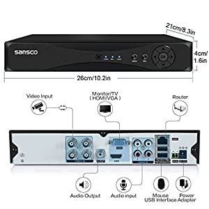 SANSCO Pro CCTV Security Camera System with 4-Channel 1080N DVR, 4 Bullet Cameras (All HD 720p 1MP), 1TB Internal Hard Drive Disk 24/7 Or Motion Recording - All-in-One Wired Surveillance Cameras Kit