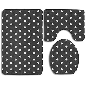 Amazon Com Black And White Polka Dot Bath Mat Bathroom