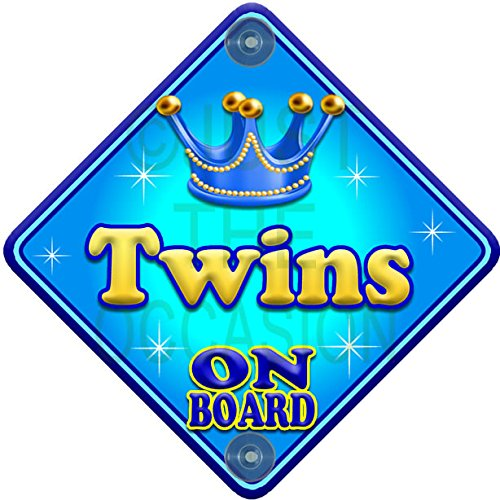 Allure TWINS Blue Baby on Board Novelty Car Window Sign Just The Occasion