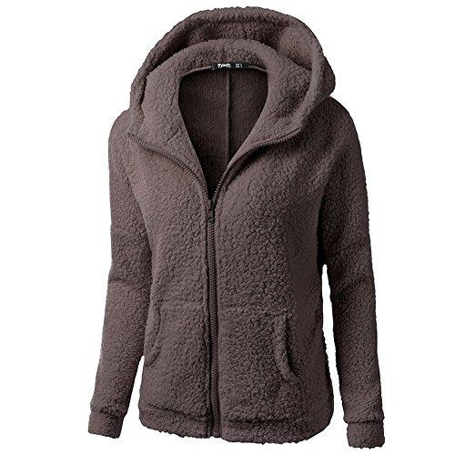 Winter Faux Fur Hoodie Cotton Jacket Fashion Solid Color Warm Coat Down Jacket (Coffee, M) (Brown Fur Hoodie Jacket)