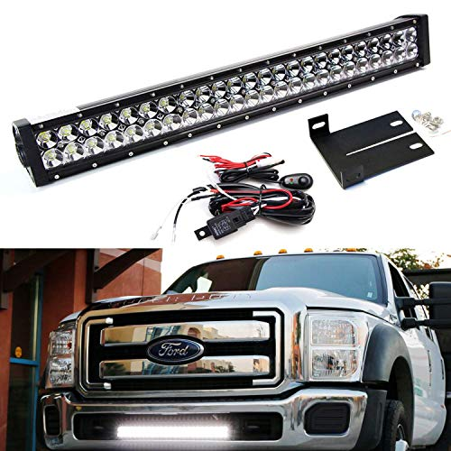 iJDMTOY Lower Grille Mount 25-Inch LED Light Bar Kit For 2011-16 Ford F250 F350 Super Duty, Includes (1) 144W High Power LED Lightbar, Lower Bumper Opening Mounting Brackets & On/Off Switch Wiring Kit