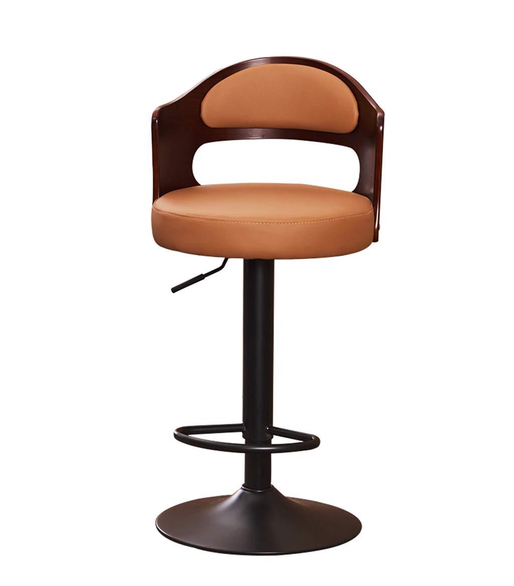 J C-J-Xin Household Bar Chair, Solid Wood Backrest Lift redate High Stool Bar Stool Cash Register Backrest Bar Chair 40  86CM Novel Style (color   E)