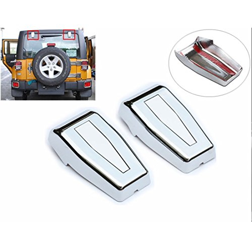 - Sunny Chrome Hardtop Liftgate Rear Window Hinges Covers For 07-15 Jeep Wrangler JK