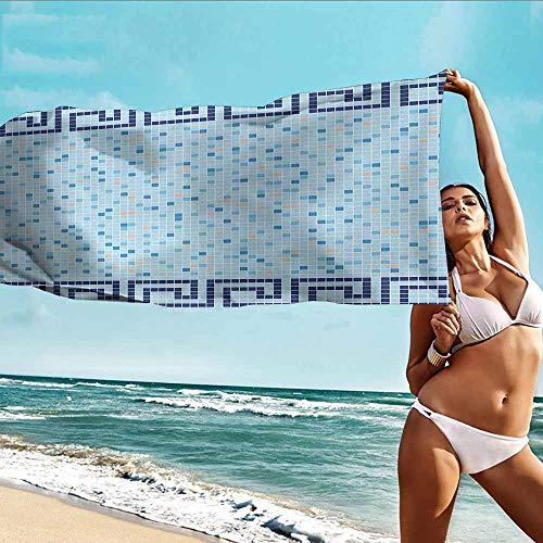 HOMEDD Bath Towels,Aqua Antique Greek Border Mosaic Tile Squares Abstract Swimming Pool Design,Soft Fast Drying Travel Gym Washcloths,W55x27L Pale Blue Navy Blue Beige