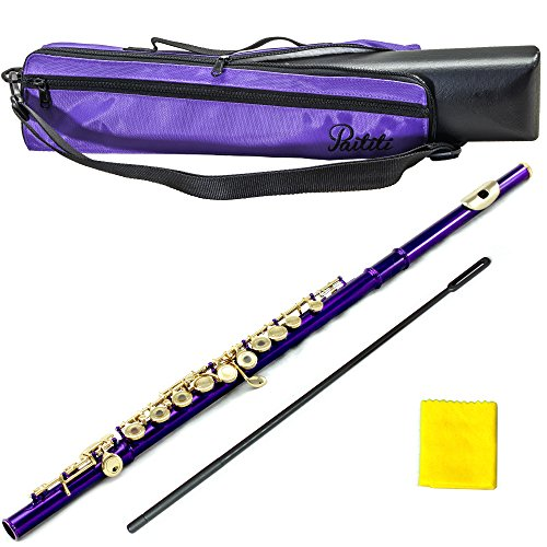 PAITITI Purple Plated Gold Key Open Hole C Flute, Guarantee Top Quality Sound with Lightweight Case, Case Cover and More