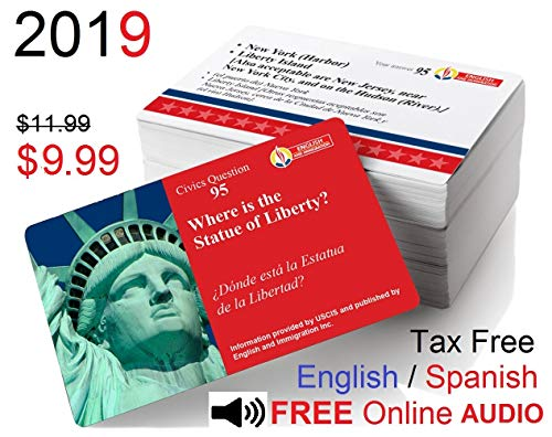 US Citizenship Test Study Guide 2019  CIUDADANIA AMERICANA 2019  100  ILLUSTRATED U S  CITIZENSHIP TEST CIVICS FLASH CARDS IN SPANISH & ENGLISH  for the