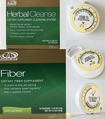 Advocare Herbal Cleanse & Unflavored Fiber Kit + BMI Calculator. >Herbal Cleanse 20 Capsules & Fiber 10 Pouches by AdvoCare