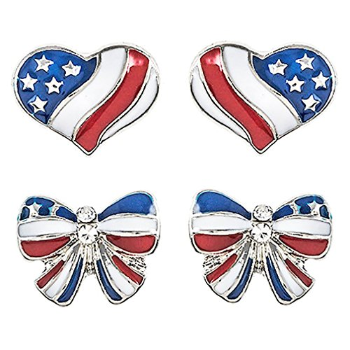 (ACCESSORIESFOREVER Patriotic Jewelry American Flag Heart Ribbon 2 Pairs Fashion Earrings)