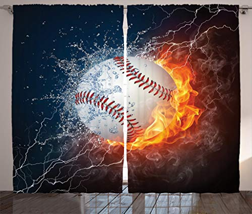 Christmas Baseball - Lunarable Sports Curtains, Baseball Ball on Fire and Water Flame Splashing Thunder Creative Art, Living Room Bedroom Window Drapes 2 Panel Set, 108 W X 63 L Inches, Dark Blue Orange Burgundy