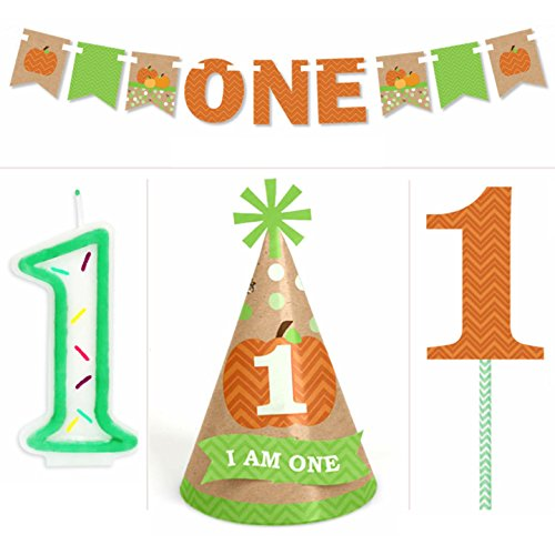 Pumpkin Patch - 1st Birthday Boy or Girl Smash Cake Kit - High Chair Decorations (Pumpkin Chair)