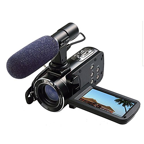 Full HD Digital Video Camera with External MIC, Model HDV-Z20 (Includes 8GB SD Card as a Free Bonus!) - Digital Camcorder with Professional Camera Mounted Shotgun Boom Microphone