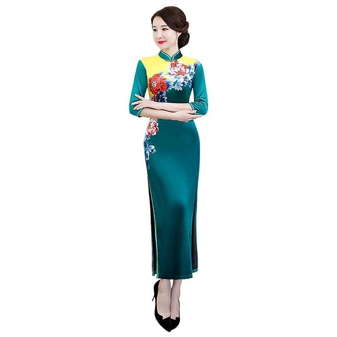 Hzjundasi Cheongsam de Las Mujeres - Impresión Floral Qipao ...