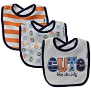 Gerber Baby Boys' 3 Pack Terry Dribbler Bibs, Cute, One Size