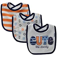 Gerber Baby Boys' 3 Pack Terry Dribbler Bibs, Cute, One Size