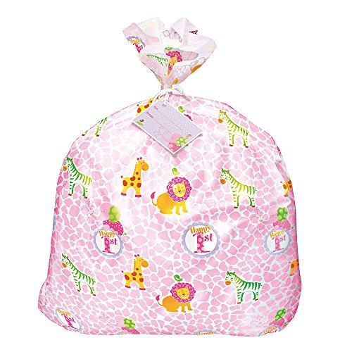Jumbo Plastic Pink Safari First Birthday Gift Bag]()