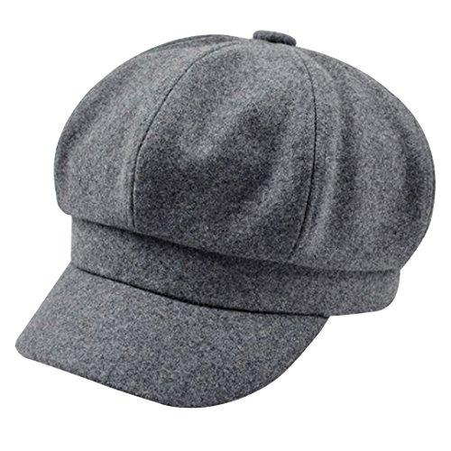 Brim Beret (Monique Women Vintage Wool Newsboy Cap Cabbie Hat Fashion Visor Beret Cap Wide Brim Peaked Cap Gray)