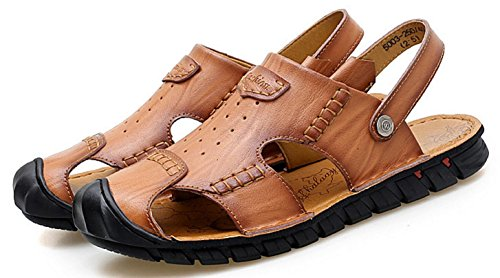 CYGG Hombres De Deportes Brown Sandalias La De Aire Los Cuero Mano Playa De Libre Sandalias De Ocasionales A Cosidos De Zapatos Los Al qUzYSIxBzw