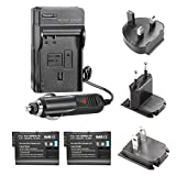 Neewer® 2PCS 7.4V 1900mAh Replacement Battery for EN-EL15 + 4 In 1 Battery Charger Kit Works with MB-D11 MB-D12 MB-D14 MB-D15 MB-D16 Battery Grip + US/EU/UK Plug + Car Adapter for Nikon 1 V1 D600 D610 D7000 D7100 D750 D800 D800S D800E D810 Camera