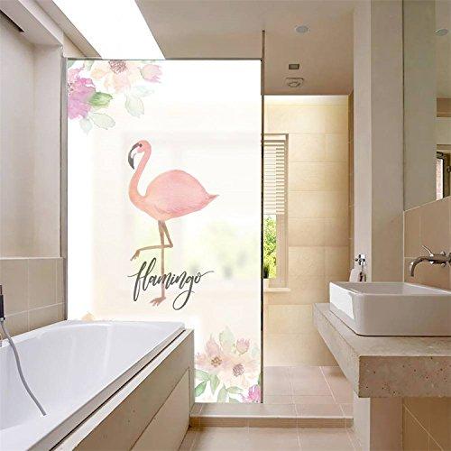 amazingwall水彩フラミンゴ花ウィンドウフィルム防水Moistureproofバスルームリビングルームガラスドア装飾17.7 X 22.8