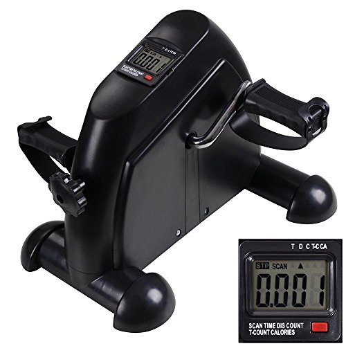 Mini Pedal Exerciser w/ LCD Display Indoor Exercise Bike Resistance Adjustable