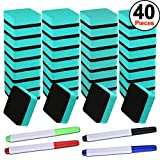 SIQUK 36 Packs Dry Erase Eraser Magnetic Whiteboard Eraser Green Chalkboard Cleansers Wiper(1.97 x 1.97 Inches) with 4 Pieces Whiteboard Markers